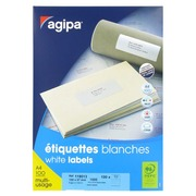 Box of 1000 address labels Agipa 119013 white 105 x 57 mm for laser and inkjet