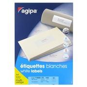 Etiquette adresse jet d'encre et laser 105 x 42 mm Agipa 119008 blanche - Boîte de 1400