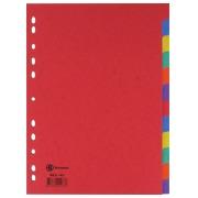 Intercalaire A4 carte lustrée colorée Bruneau 12 onglets neutres multicolores - 1 jeu