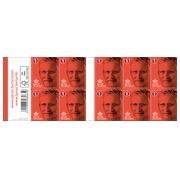 Blister met 10 x 10 zelfklevende vellen met postzegels Bpost Nationaal Tarief 1 - versie Koning Filip