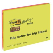 Notes unies couleurs néon Super Sticky Post-it 203 x 152 mm - bloc de 45 feuilles