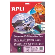 Pack of 20 CD labels for laser printing Ø117 mm Apli