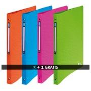 Pack 3 ringmappen met 4 ringen in plastiek Elba Art Pop A4 geassorteerde kleuren + 1 gratis