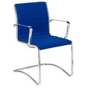 Bezoekersstoel Milano stof blauw - Rug H 40 cm