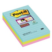 Notes lignées couleurs Miami Super Sticky Post-it 101 x 152 mm assortis - bloc de 90 feuilles + 1 cadeau offert