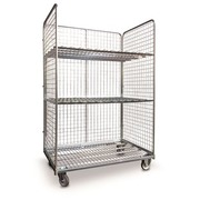 Roll container 3 sides + 2 shelves - capacity 400 kg