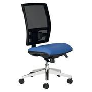 Bureaustoel met rug in netstructuur en stoffen zitting Bruneau Activ' blauw - Synchroon