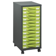 Mobile side cupboard Izo 12 drawers anthracite - aniseed green