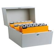 Boîte à fiches Metalib - Classement de 500 fiches horizontales - 105x148mm à 105x150mm - Gris