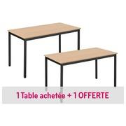 Pack 1 multifunctionele tafel eco beuk/zwart B 120 x D 60 cm + 1 gratis