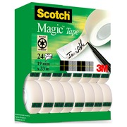 Pack 16 + 8 rolletjes onzichtbare plakband Scotch Magic 33 m