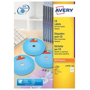 Avery L7676-100 CD etiketten, diameter 117 mm, 200 etiketten, wit