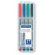 Staedtler OHP-marker Lumocolor Non-Permanent geassorteerde kleuren, box met 4 stuks, fijn 0,6 mm