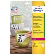 Avery étiquettes enlevables résistantes à l'humidité Ft 99,1 x139 mm (l x h), blanc boîte de 80 pièces