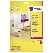 Avery étiquettes néon amovibles ft 99,1 x 38,1 mm (l x h), boîte de 25 feuilles, 350 pièces, rouge néon