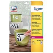 Avery étiquettes enlevables résistantes à l'humidité ft 45,7 x 21,2 mm (l x h), blanc boîte de 960 pièces