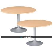 Pack Runder Tisch Excellens Topf in Buche Durchmesser 120 cm tulpenförmige Pfote 1 + 1 gratis