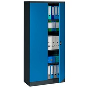 Cabinet with swinging doors Union H 195 cm body in anthracite doors in blue