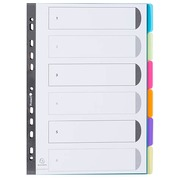 Dividers A4 colored translucent polypropylene Exacompta 6 neutral and rewritable tabs multicolored - 1 set