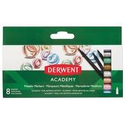 Derwent feutre Academy  Metallic Markers, blister de 8 pièces en couleurs assorties