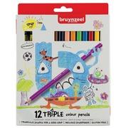 Bruynzeel Kids crayons de couleur Triple, blister de 12 couleurs assorties