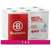 Pack 1 + 1 Papier toilette double épaisseur Bruneau - Colis 48 rouleaux 200 feuilles