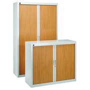 Pack tambour cabinets Bruneau H 200 + H 100 cm grey/beech