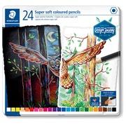 Staedtler crayon de couleur Design Journey Super soft, boîte métallique avec 24 crayons