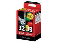 Pack van 2 cartridges Lexmark 32 zwart en 33 kleur