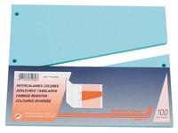 Pak met 100 trapeziumvormige tabbladen in gekleurd bristol