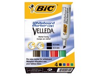 Bic Velleda, set of 4 whiteboard markers, assorted colours