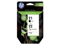 Pack van 2 cartridges HP 21 zwart en 22 kleur