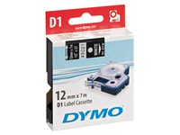 Ribbon polyester Dymo D1 S0720610 12 mm black with white text