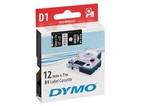 Ruban polyester Dymo D1 12 mm 45021 noir écriture blanche