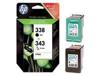 Pack van 2 cartridges HP 338 zwart en 343 kleur