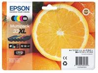 Pack of 4 cartridges Epson 33XL black + color, high capacity for inkjet printer
