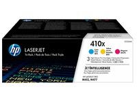 HP 410X, pack 3 toners hoge capaciteit kleuren