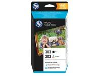 HP 303 Photo Value Pack - 2-pack - black, dye-based tricolor - print cartridge / paper kit