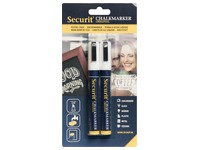 Securit krijtmarker medium, blister met 2 stuks, wit