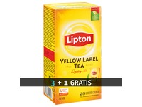 Pack 3 boxes (25 packs by box) black tea Lipton yellow  + 1 box for free