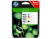 HP 903 XL pack 4 cartridges hoge capaciteit: 1 zwarte + 3 kleuren voor inkjetprinter
