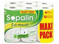 Keukenpapier Sopalin op maat 6 maxi rollen = 12 klassieke rollen