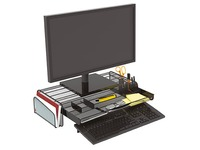 Desk organizer Mesh metal with 3 storage spaces black