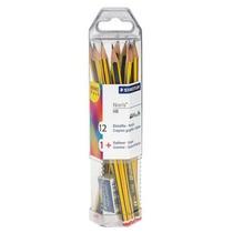 Pak van 12 potloden Staedtler Noris HB + gom gratis