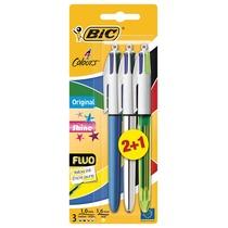 Bic balpen 4 Colours Original + Shine + Fluo, blister 2 + 1 gratis