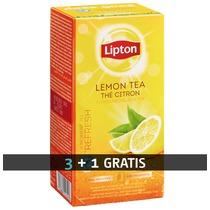 Pack 3 dozen (25 zakjes per doos) zwarte thee met citroen Lipton + 1 doos gratis