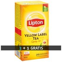 Pack 3 dozen (25 zakjes per doos) zwarte thee Lipton yellow + 1 doos gratis