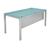 tafel bureau blauw glas grijs poten poot vierkant tafeltje rechthoek rechthoekig pootjes bureautje pootje vierkantig vierhoek vierhoekig vierkantje rechthoekje